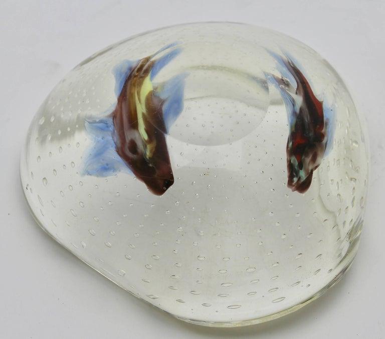 Murano Glass Midcentury Italian Murano Art Glass Aquarium Fish Bowl Sculpture For Sale