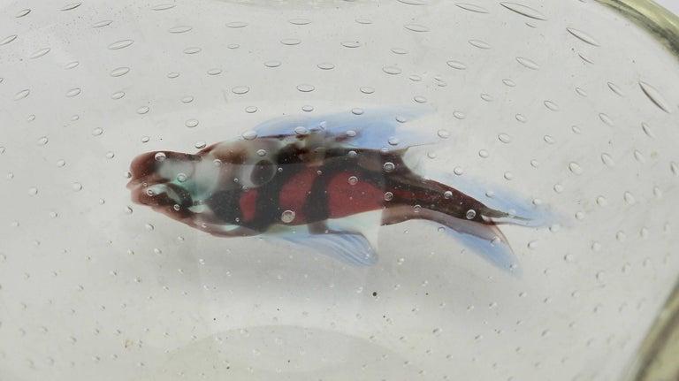 Midcentury Italian Murano Art Glass Aquarium Fish Bowl Sculpture For Sale 3