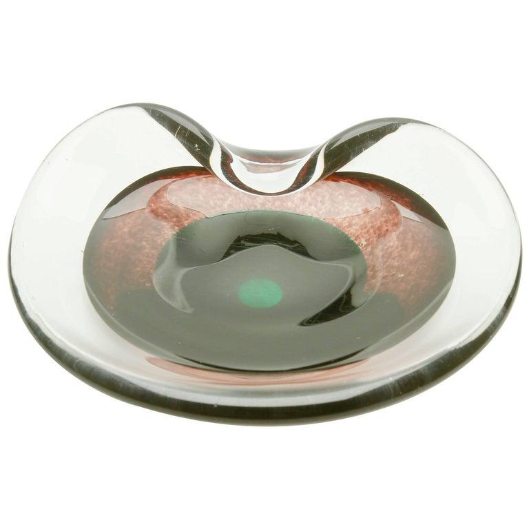 "Biomorphic Handblown Glass Bowl ""Selandia"" by Per Lutken for Holmegaard"