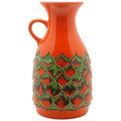 Vintage, 1970s Jasba Keramik Red Pineapple Vase W.German Pottery Fat Lava