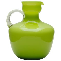 Italian Empoli Olive Green Murano Cased Art Glass Pitcher with Twisted Handle