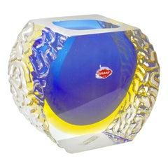 Large Murano Sommerso Textured Art Glass by Mandruzzato
