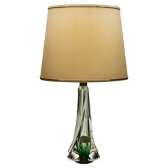 Val Saint Lambert Crystal Table Lamp, Excellent Condition 'Factory Label'