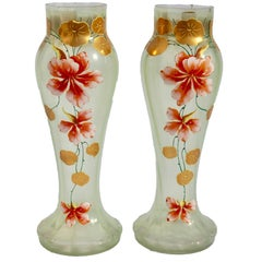 Art Nouveau Pair of Vases Gold Painted with Flower Decoration