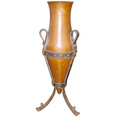 19th Century French Copper Urn with a Forged Base and Very Decorative