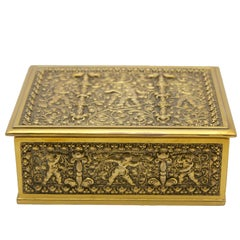 French Jewelry Casket, Cast Gilt Brass with Panels of Angels Scenes Signed