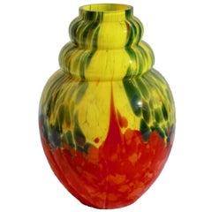 Art Deco mehrfach geschichteten Glas Catteau, Vase Belgien Scailmont, 1930er Jahre