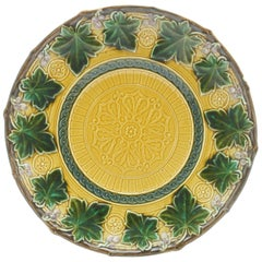 Art Nouveau Majolica Pattern in Relief Set of 7 Plates Whit Boch Stamp, 1900s