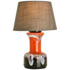 Vintage Ceramic Brown and Orange Drip Lamp Aro, Germany, 1960s