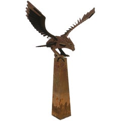 Abstract Image of Eagle in Wrought Iron on Base, a Real Eyecatcher