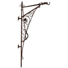 Wallmountable Carriage Lantern Hook with Handle and Lever for Easy Access, 1890s