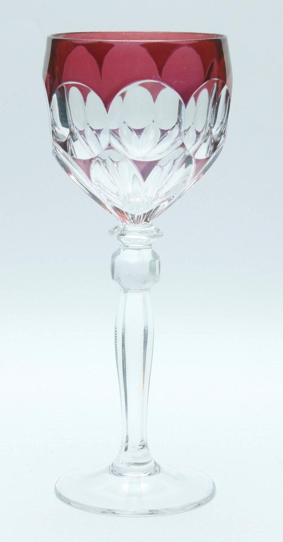 Kristall Set aus Sechs Lausitzer Stem Gläsern mit Farbigem Overlay 2