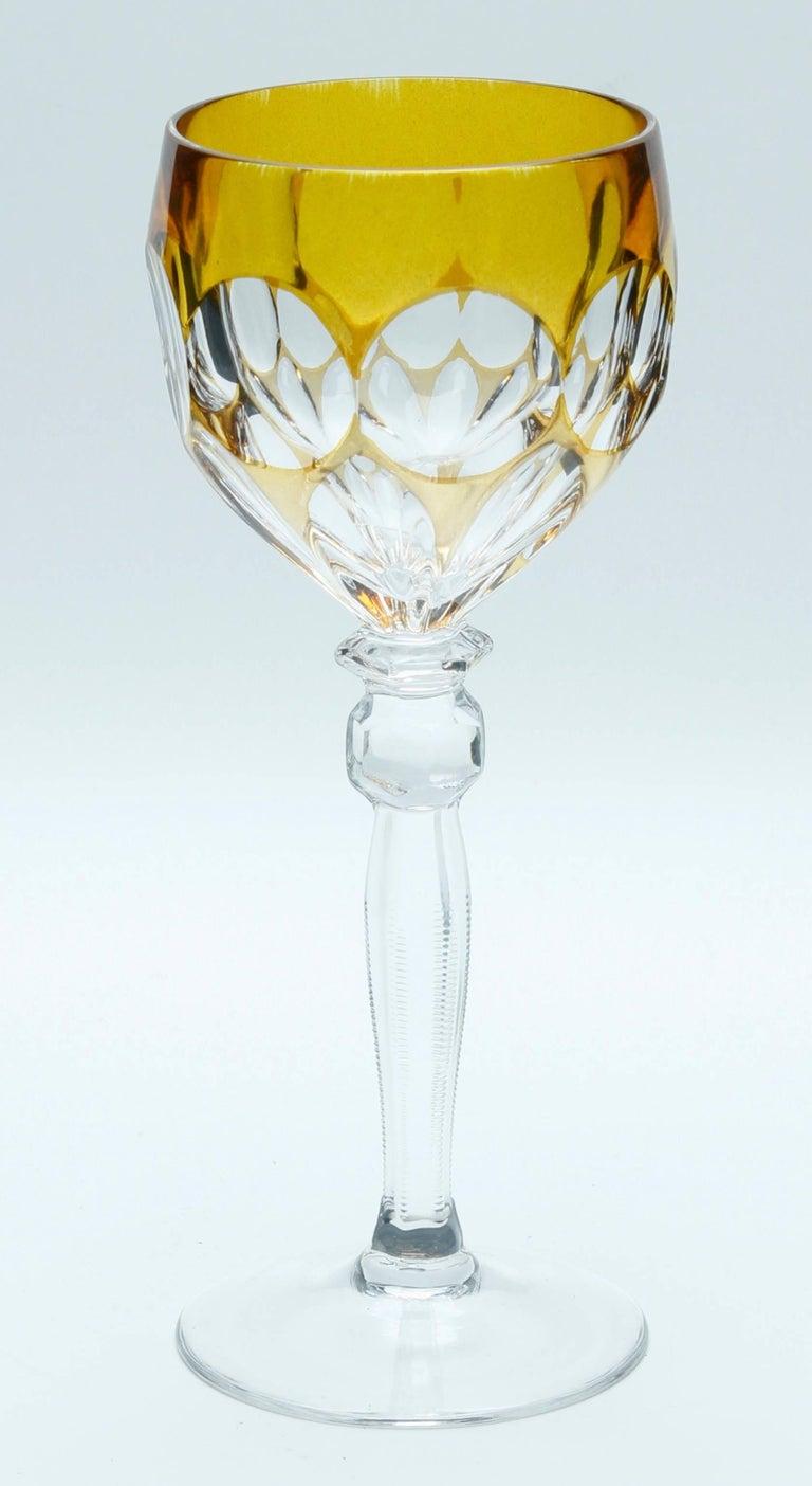 Kristall Set aus Sechs Lausitzer Stem Gläsern mit Farbigem Overlay 3