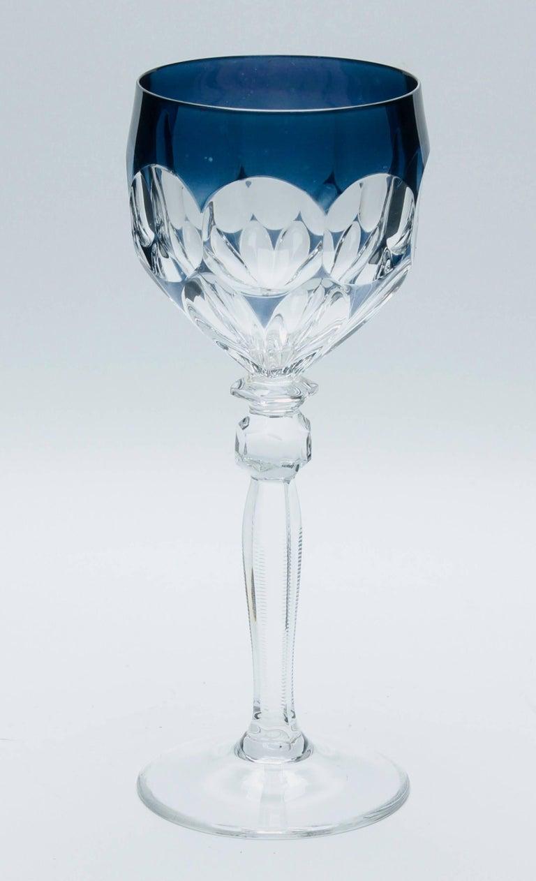 Kristall Set aus Sechs Lausitzer Stem Gläsern mit Farbigem Overlay 5