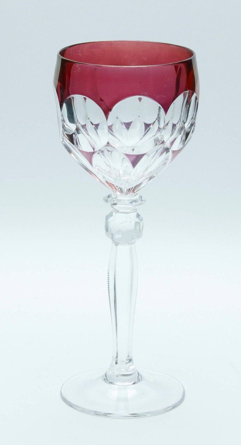 Kristall Set aus Sechs Lausitzer Stem Gläsern mit Farbigem Overlay 6