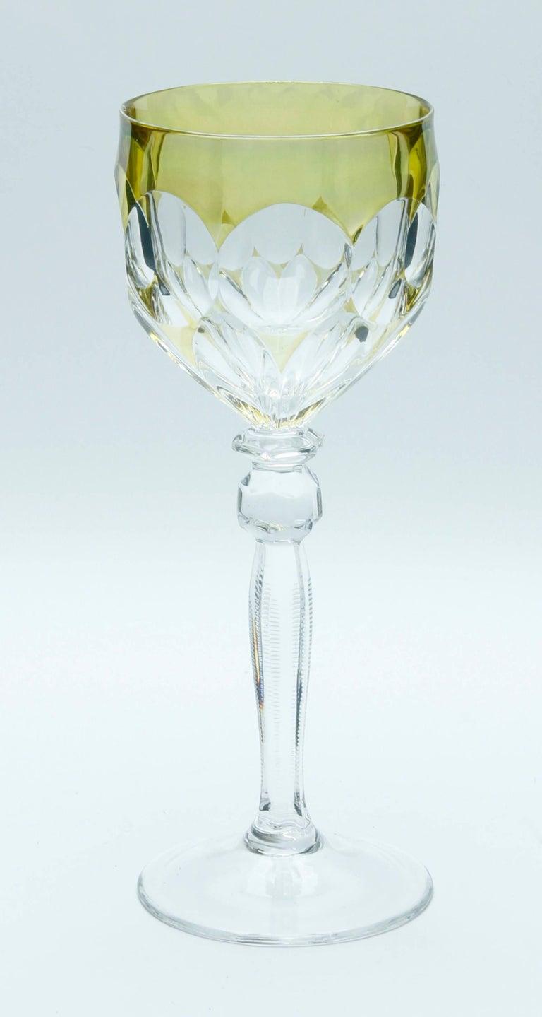 Kristall Set aus Sechs Lausitzer Stem Gläsern mit Farbigem Overlay 7