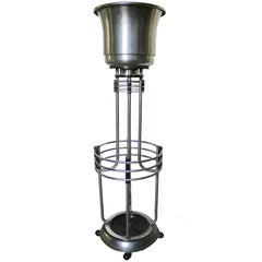 Art Deco Umbrella Planter Stand from a Movie Theatre Vintage Chrome and Bakelite