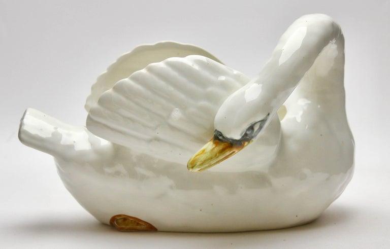 Majolica Set of White Swans Jardinière Stamped Imperiale Nimy Belgium circa 1900 8
