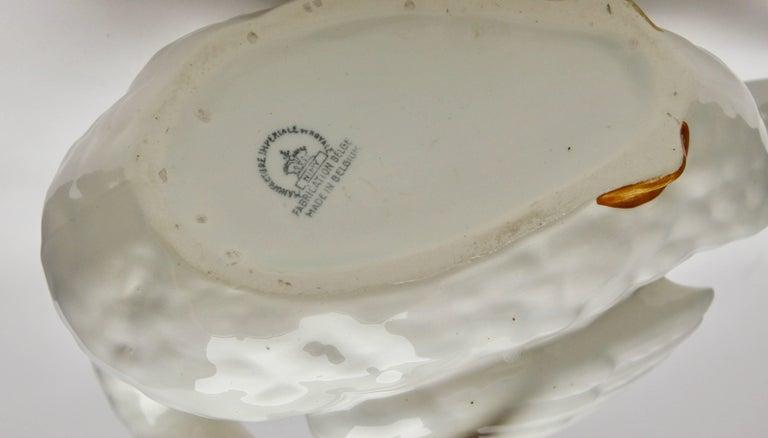 Majolica Set of White Swans Jardinière Stamped Imperiale Nimy Belgium circa 1900 12