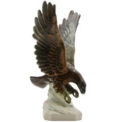 Porcelain Figurine Depicts Bird of Prey Goebel-Germany 'Signed Goebel'