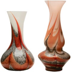 Vintage 'Space Age' Set Murano Opaline Florence Vase, 1955