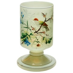 19th Century French Opaline Vase with Hand Painted Bird and Floral Decorations