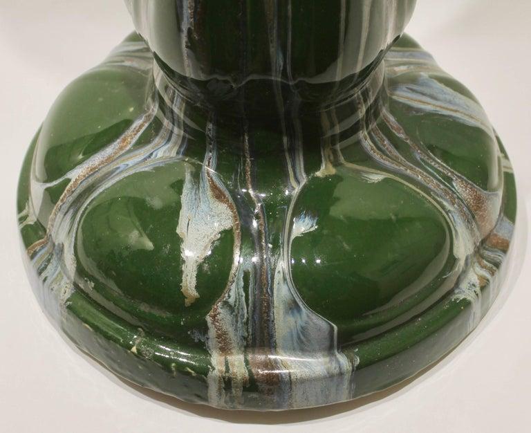 Glazed Art Nouveau Large Ceramic Jardinière on Stand, Belgium, Excellent Condition For Sale