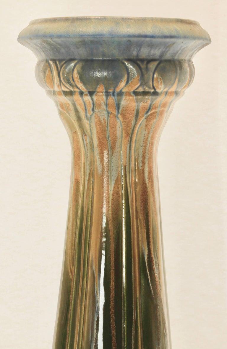 Majolica Art Nouveau Large Ceramic Jardinière on Stand, Belgium, Excellent Condition For Sale