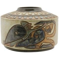 A. Dubois À Bouffioulx, Vase Cylindrique En Grés Émaillé À Decor Tournant Gravé