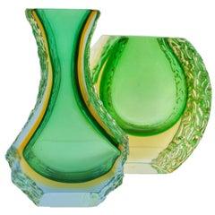 Texturiert und Facettierte Murano Sommerso Grün und Gelb Eis Glasvase