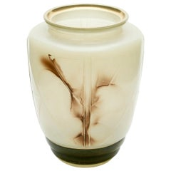 Very Unusual Hand-Colored Pressed Glass Vase Decorated with Gold Rim, 1940s