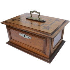 Late 19th Century Wooden Oak Box with Inlay Works Austria, circa 1890