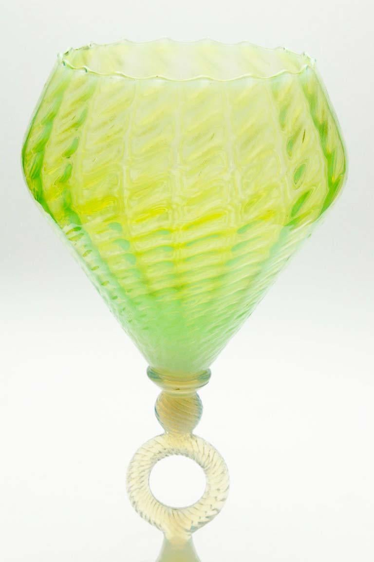 Salviati Murano Venetian hand blown green centerpiece An example of Venetian glassblowing mastery, this and impressive centerpiece made by Antonio Salviati.  The piece is in excellent condition and a real beauty!