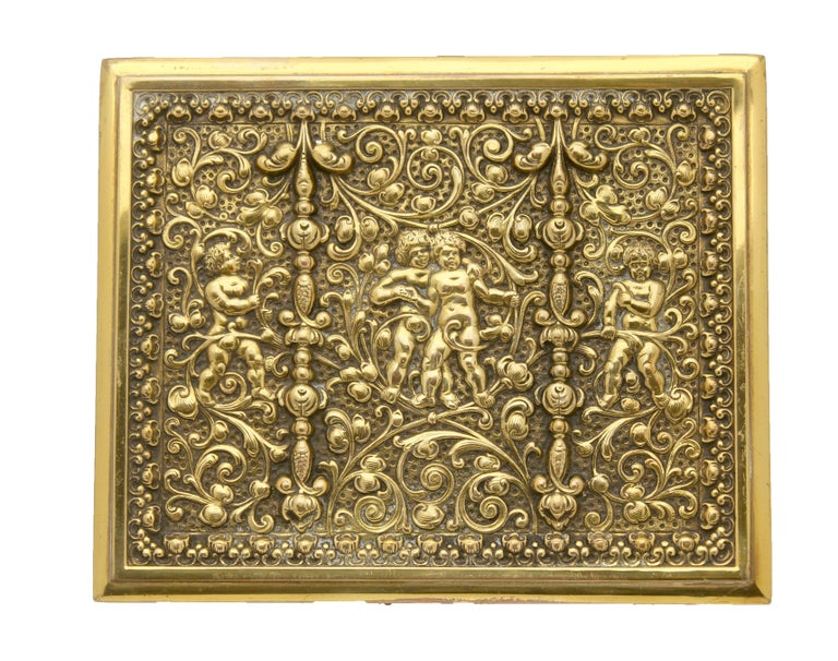 20th Century French Jewelry Casket, Cast Gilt Brass with Panels of Angels Scenes Signed For Sale