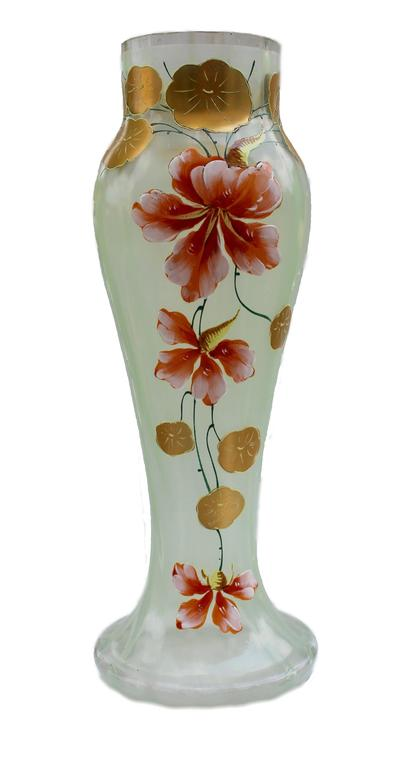 Beautiful art nouveau vases gold painted with flower for Art nouveau decoration