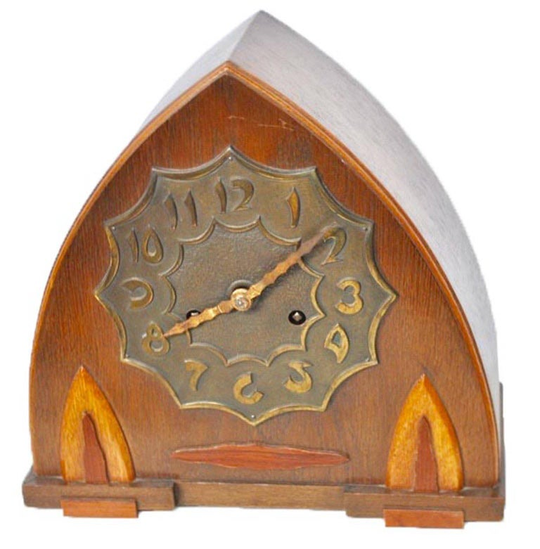 Arts and crafts oak mantle clock with bronze dial the for Arts and crafts clocks for sale