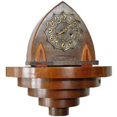 Arts & Crafts Oak Mantle-Clock with Bronze Dial, the Netherlands, circa 1930