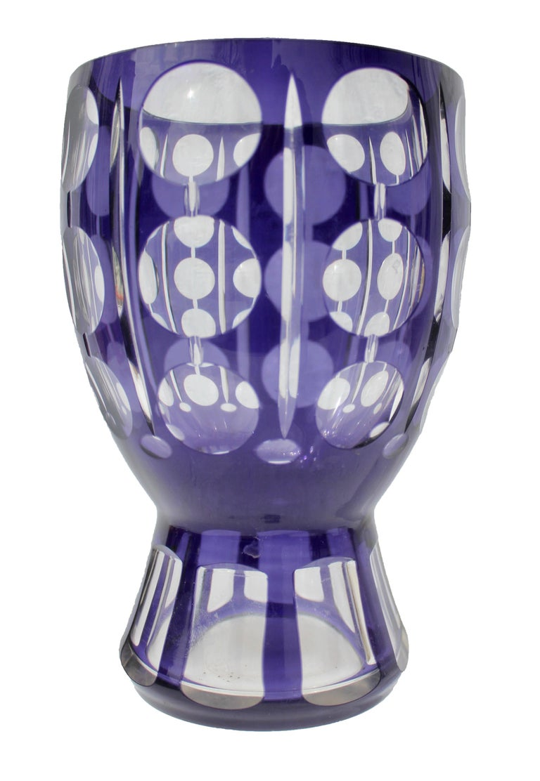 Art deco bohemian crystal glass facet vase purple color is very art deco bohemian crystal glass vase a modern crystal vase with cut to clear lenses floridaeventfo Images