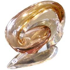 Modern Sculpture by Alfred Collard Val Saint Lambert Studio Glass, Signed