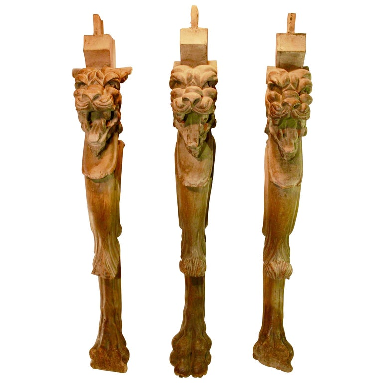 Highly decorative hand carved wooden table legs with lion