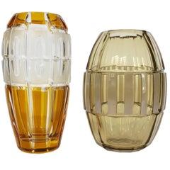 Stunning Art Deco Cristal Vases Hand-Cut and Etching Technics 'Craftsmanship'