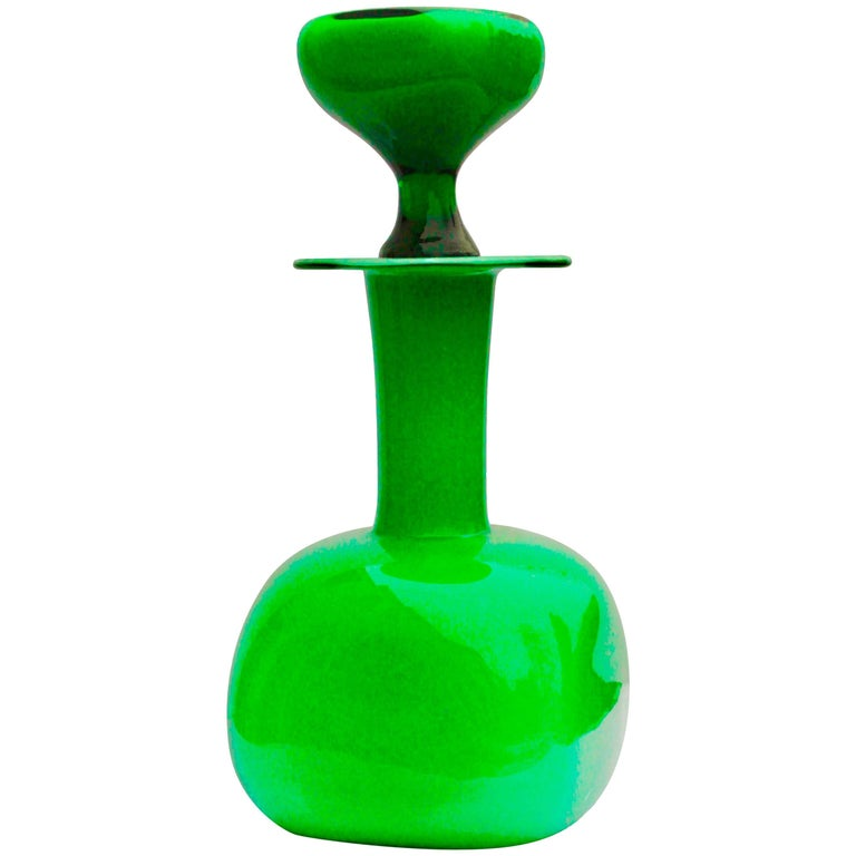 Otto Brauer Green Cased Glass for Holmegaard, circa 1960 For Sale