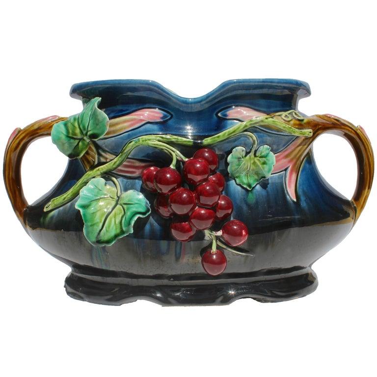 Art Nouveau Majolica Planter Figural with Grapes Decoration 1