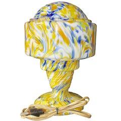 Art Deco Table Lamp1930 Scailmont Belgium Cloud Marmorean Glass