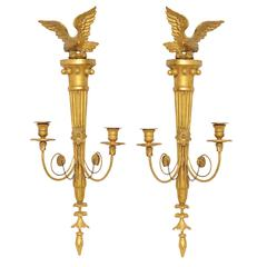 Fine Pair of Early Carved Giltwood English Regency Wall Lights, circa 1810