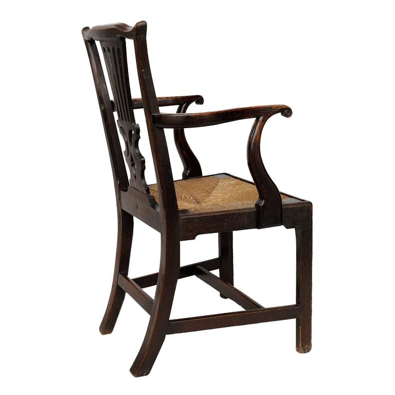 English george iii oak chippendale open arm or desk chair