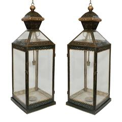 Pair of French Contemporary Green Painted Hanging Lanterns