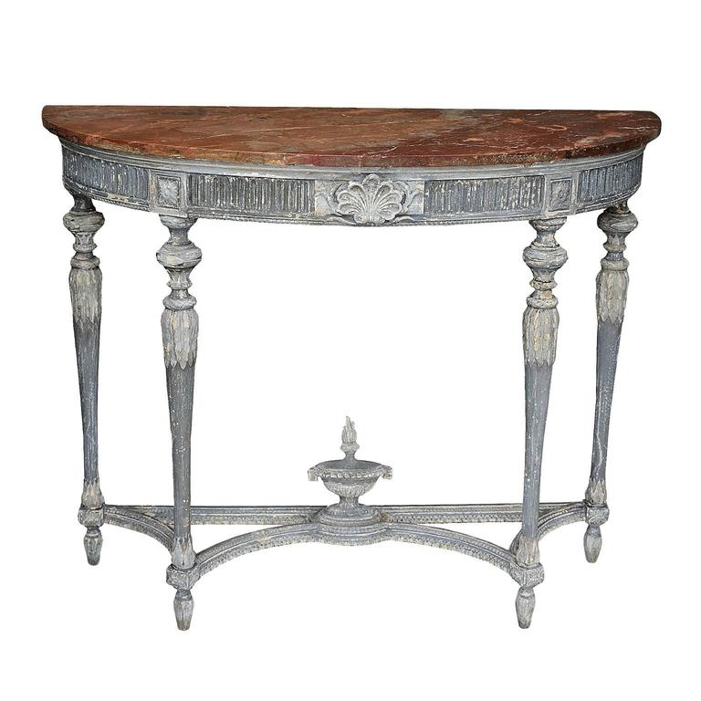 French, Louis XVI Style Painted Demilune Console Table, circa 1880 ...