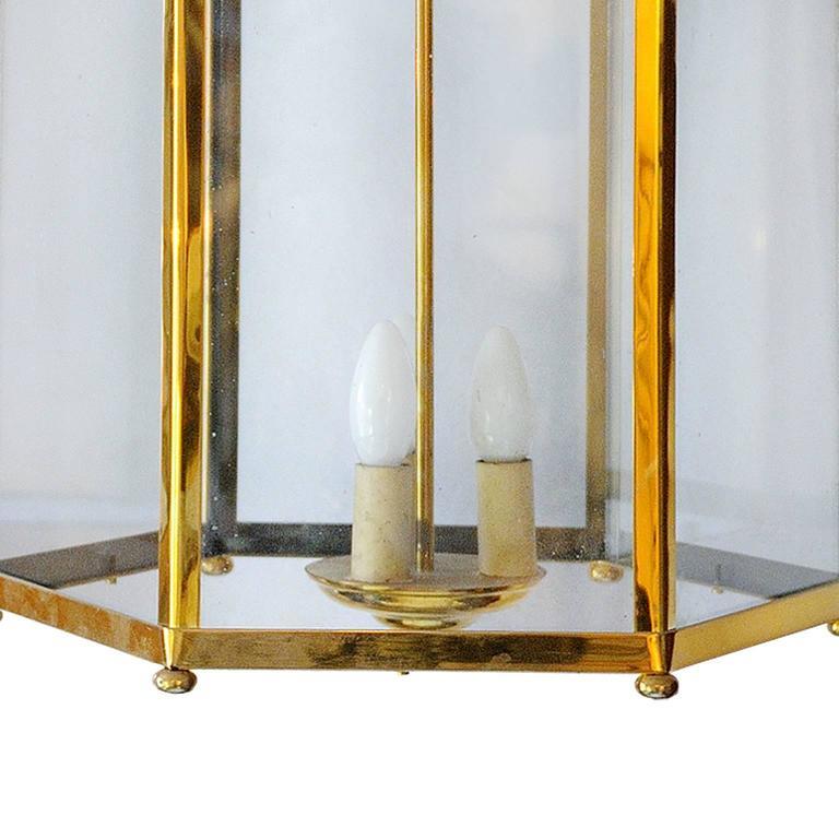 English Large 18th Century Georgian Style Brass Frame Lantern, circa 1920 For Sale