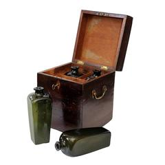 English 18th Century George III Mahogany Decanter Box with Glass Bottles